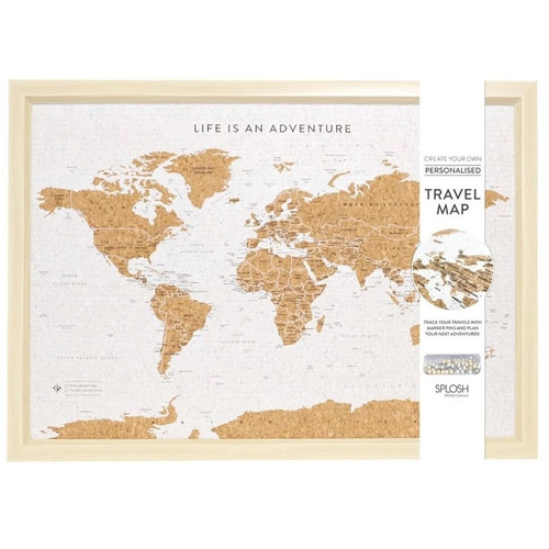 Framed Cork World Travel Map with Pins