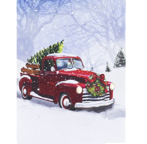 Red Truck with Christmas Tree Lighted Canvas