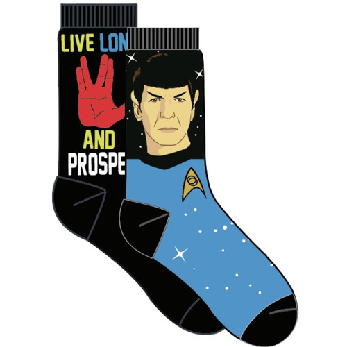Star Trek Spock and Live Long and Prosper 2 Pair Crew Socks by Vision Eleven