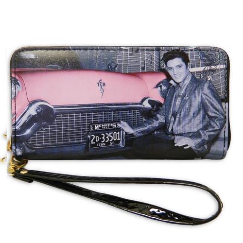 Elvis with Pink Car Zip Around Wallet