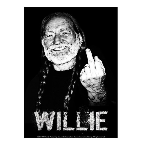 Willie Nelson Willie Middle Finger Metal Sign