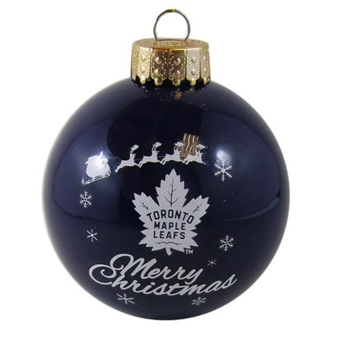 Toronto Maple Leafs Merry Christmas Glass Ball Ornament