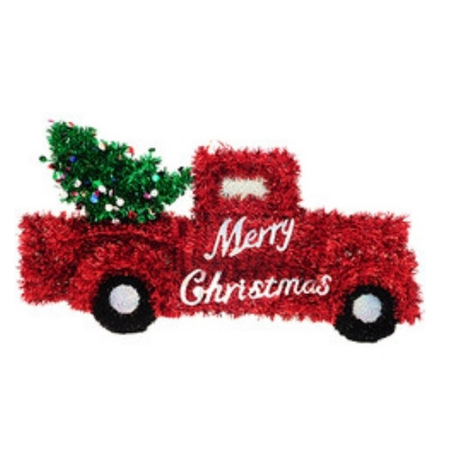 Red Pick-Up Truck with Tree Tinsel Décor