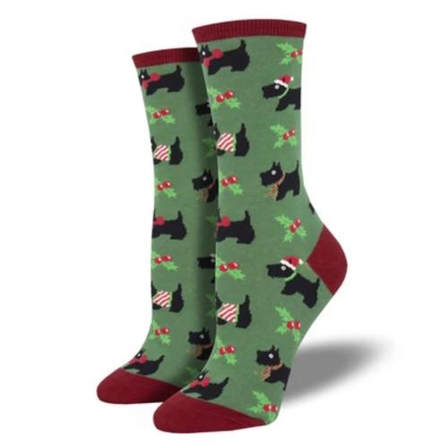 Festive Scotties Women's Crew Socks by Socksmith Canada