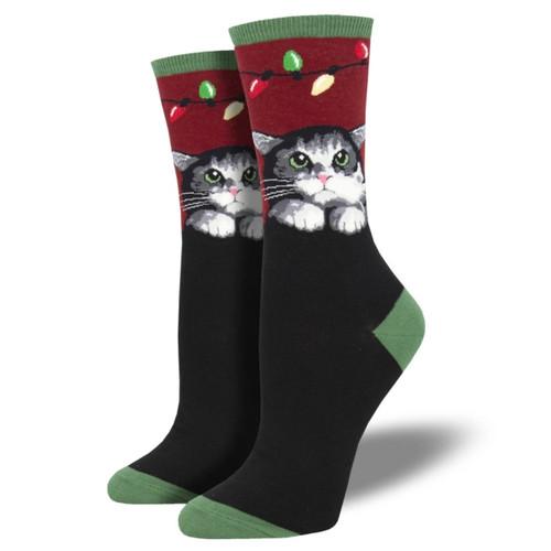 Purrty Lights Women's Crew Socks by Socksmith Canada