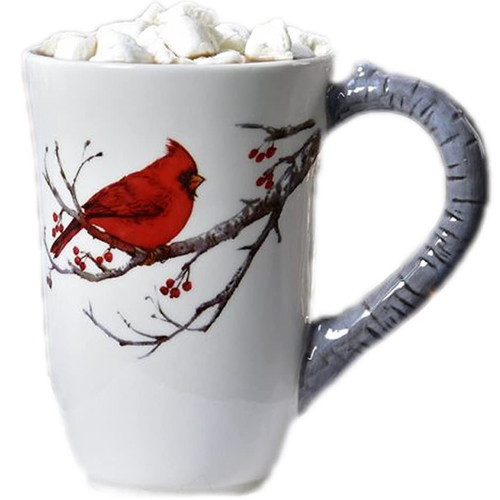 Cardinal Mug with Birch Branch Handle