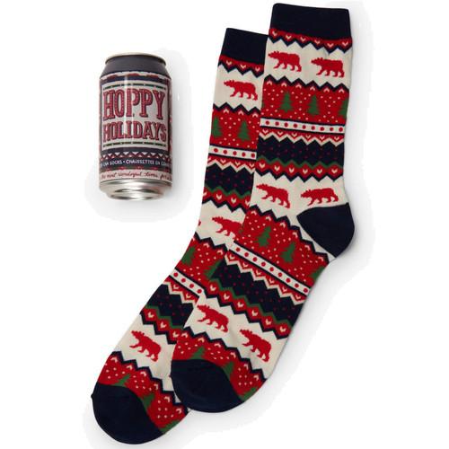 Fair Isle Bear Hoppy Holidays Socks in Can