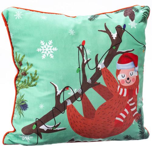 Sloth Wearing Santa Hat Light-Up LED Pillow
