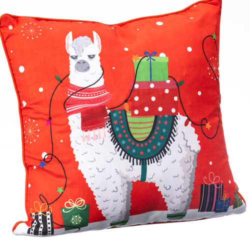 Llama with Gifts Light-Up LED Pillow