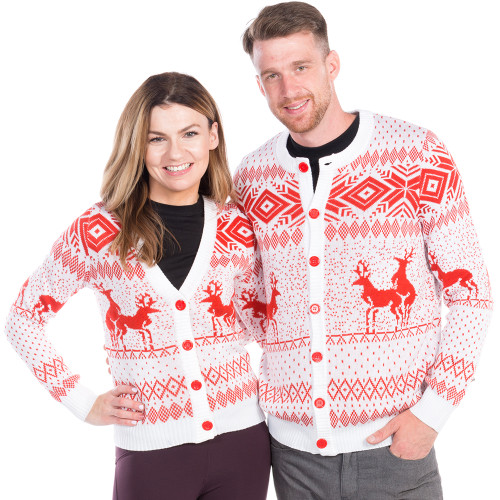 Christmas Cardigan Sweaters.Humping Reindeer White Cardigan His Or Hers By Tipsy Elves