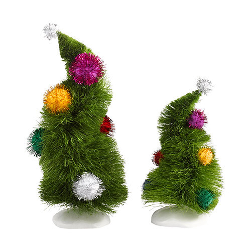 Department 56 The Grinch Wonky Christmas Trees Set of 2