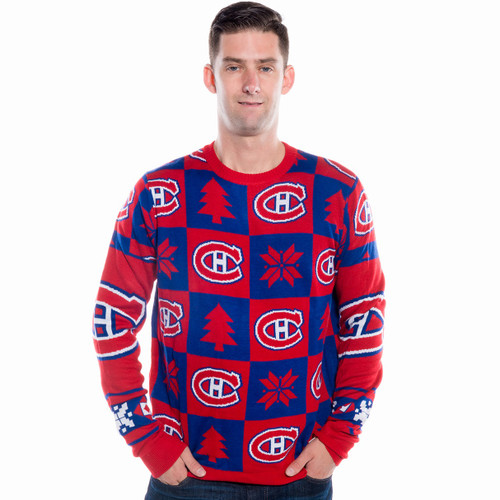 best service 9417e 11ef7 Montreal Canadiens Ugly Christmas Sweater NHL Busy Block Design