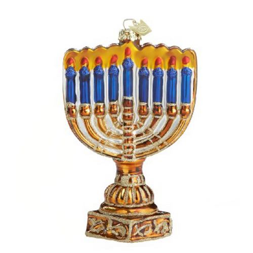 Menorah Hand-Crafted Glass Ornament