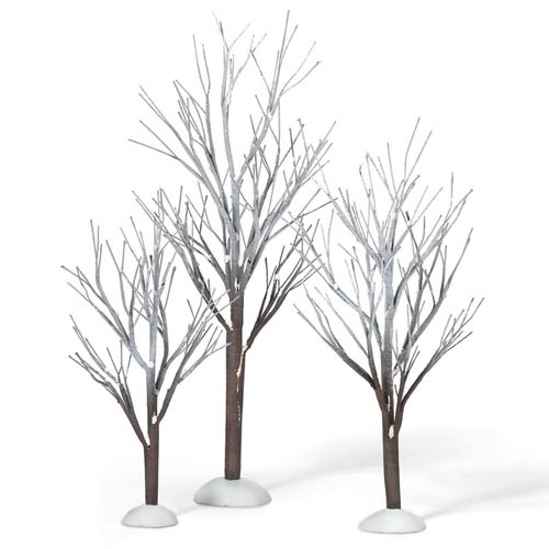 Department 56 Christmas Village Accessories First Frost Trees Set of 3