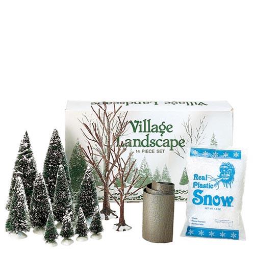 Department 56 Christmas Village Accessories Village Landscape Set of 14