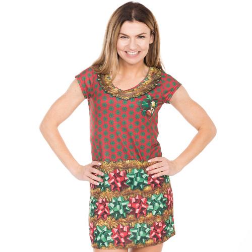 Womens Ugly Christmas Sweater Dress.Women S Bow Tiful Christmas Sweater Dress By Faux Real