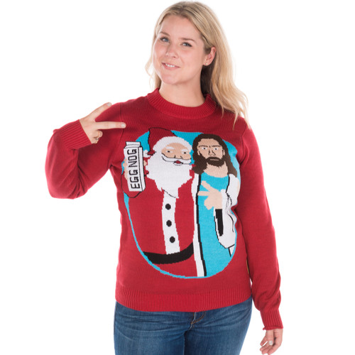 Christmas Sweater Womens.Jingle Bros Ugly Sweater Santa And Jesus By Tipsy Elves
