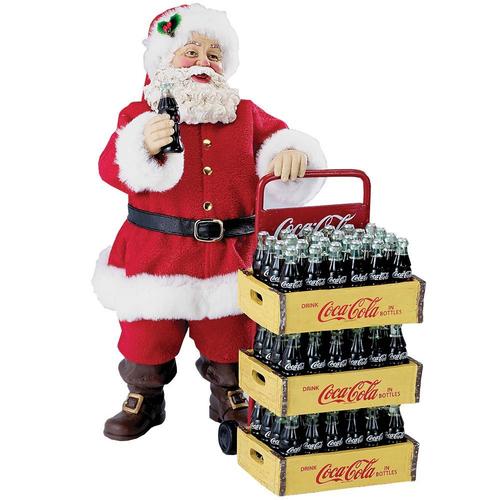 Santa with Coca-Cola Delivery Cart Fabriche - Two Piece Set