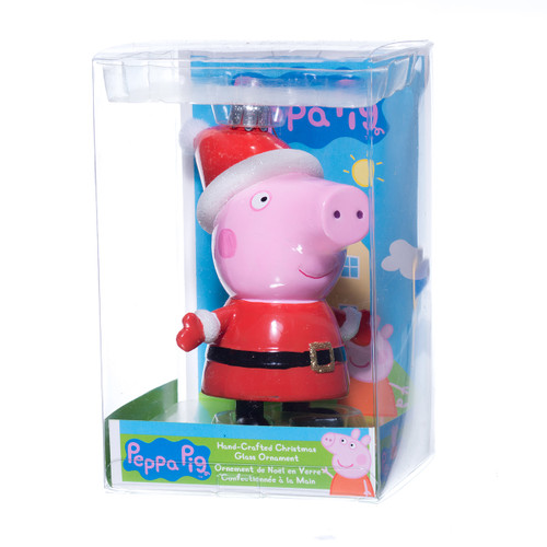 Glass Peppa Pig Christmas Ornament