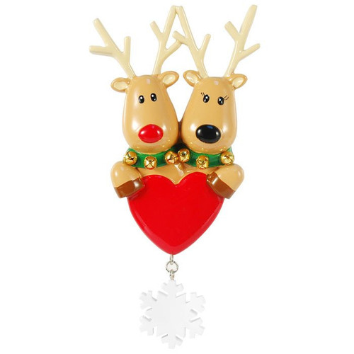 New Reindeer Couple Personalized Ornament