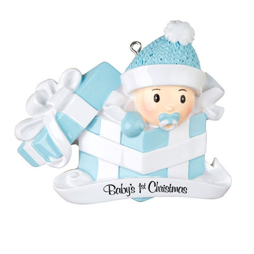 Baby Boy in Present Personalized Ornament