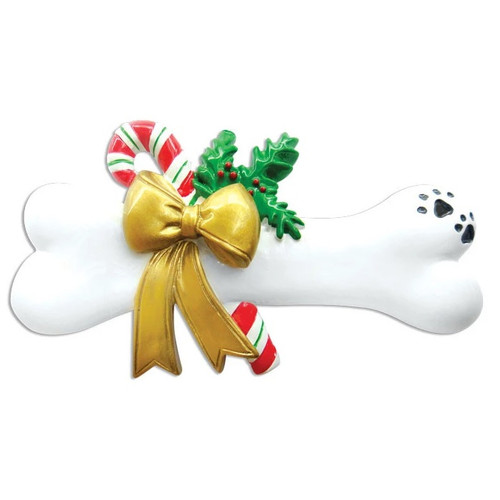 Dog Bone w/ Holly Personalized Ornament
