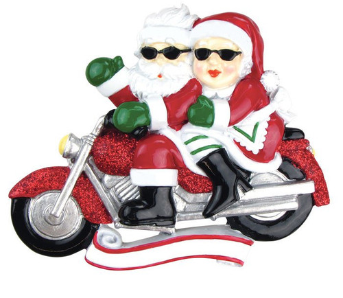Motorcycle Mr & Mrs  Personalized Christmas Ornament