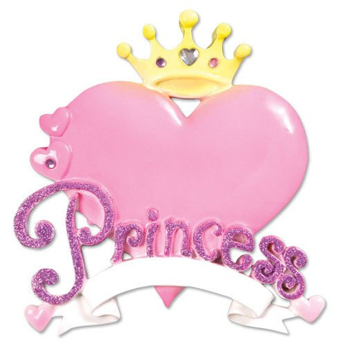 Princess Heart Personalized Christmas Ornament
