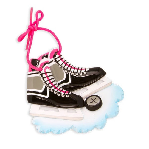 Pink and Black Hockey Skates Personalized Ornament