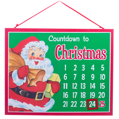 Green Metal Countdown to Christmas Sign