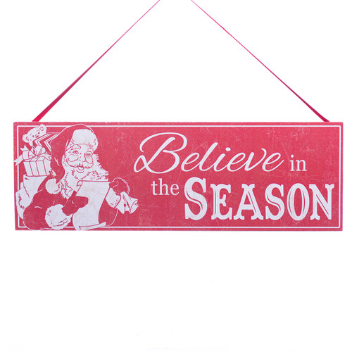 Wooden Santa Believe in the Season Christmas Sign