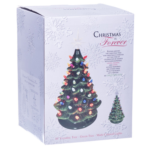 Vintage Light Up Ceramic Christmas Tree Green 16