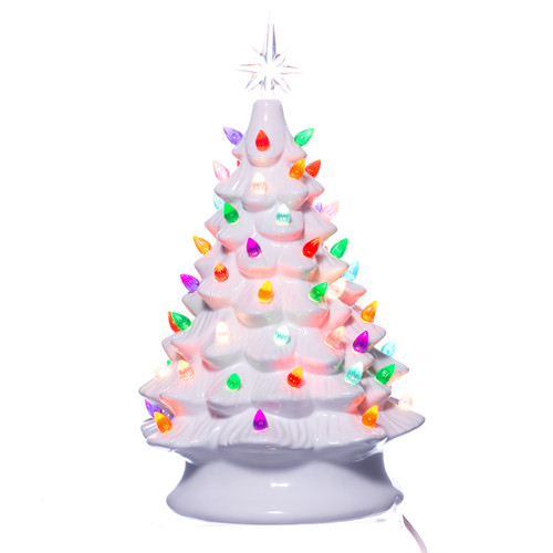 Ceramic Christmas Tree With Lights.Retro Light Up Ceramic Christmas Tree White 16