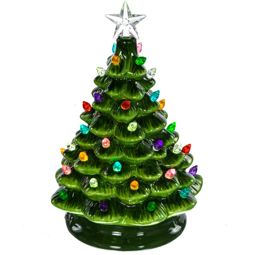 Ceramic Christmas Tree With Lights.Green Vintage Light Up Ceramic Christmas Tree Retrofestive Ca