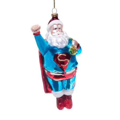 Superhero Santa Glass Christmas Ornament