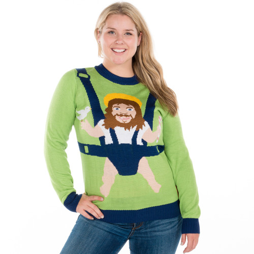 Christmas Sweater Women.Baby Jesus On Board Ugly Sweater His Or Hers By Tipsy Elves