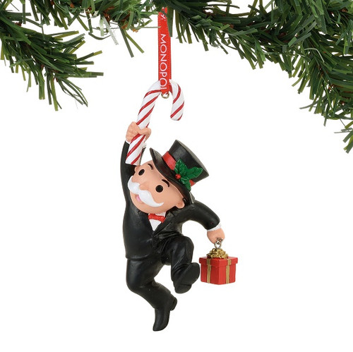 Mr. Monopoly with Candy Cane Ornament