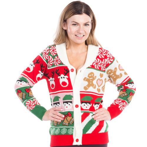 Christmas Cardigan Sweaters.Sweet Treats Ugly Christmas Sweater Cardigan W Collar World S Best