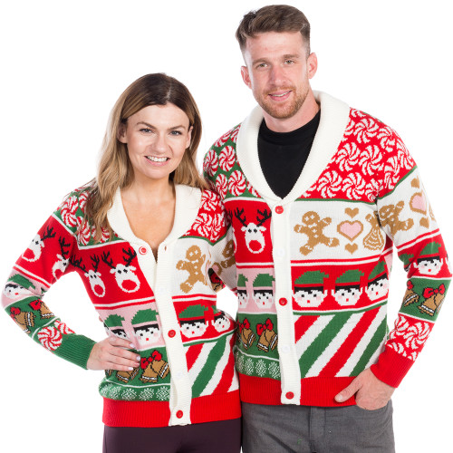 Sweet Treats Ugly Christmas Sweater Cardigan - his and hers f8187bf2e