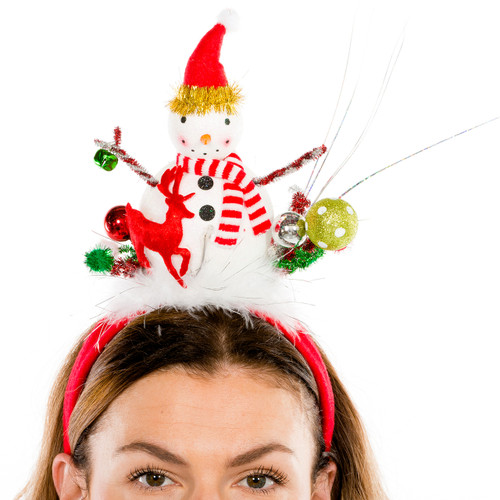 Festive Snowman with Reindeer LED Headband