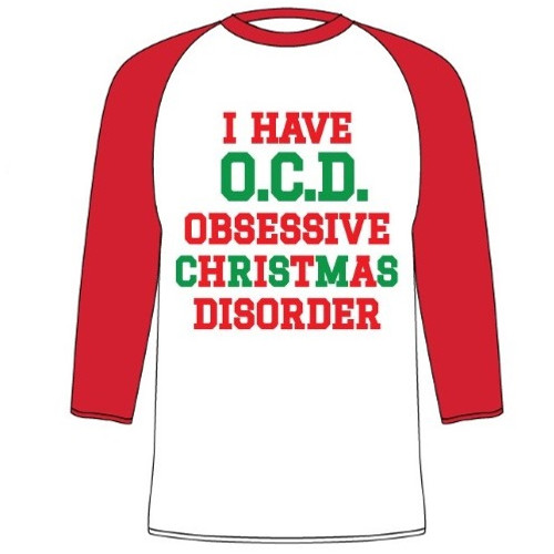 Obsessive Christmas Disorder Raglan-Style 3/4 T-Shirt - RetroFestive.ca
