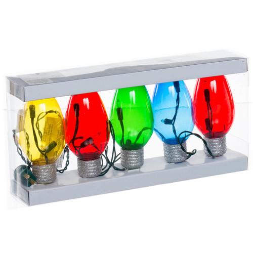 tring of Retro Plastic Christmas Bulbs