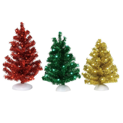 Department 56 Village Accessories Set of 3 Magical Tinsel Trees
