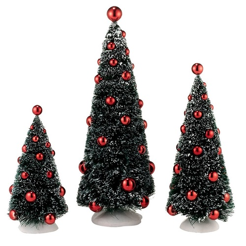 Department 56 Village Accessories Set of 3 Vintage Sisal Trees with Ornaments
