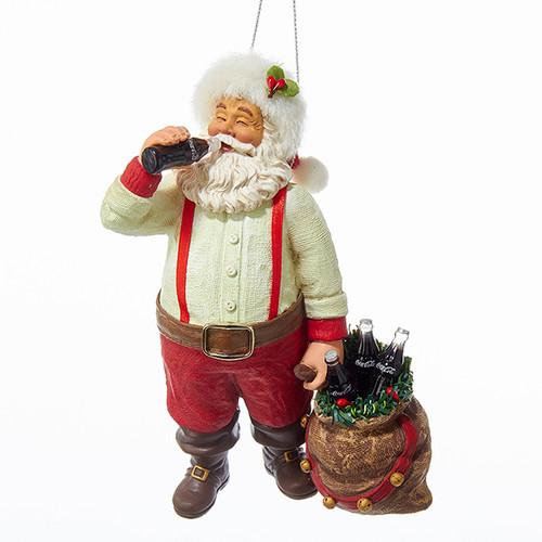 Santa in Suspenders with Coke in his Sack Ornament
