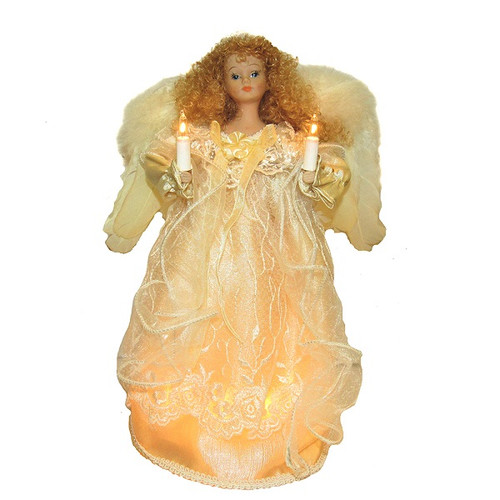 Ivory Angel Tree Topper with Fabric Hair