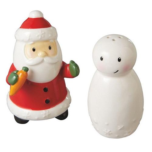 Santa with Snowman Salt & Pepper Shakers
