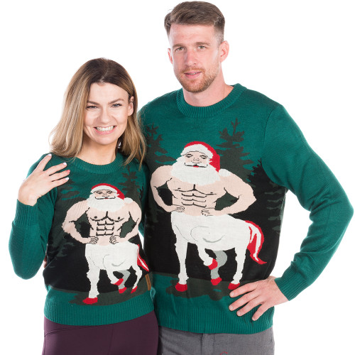 Christmas Sweaters For Couples.Santataur Ugly Sweater His Or Hers By Tipsy Elves
