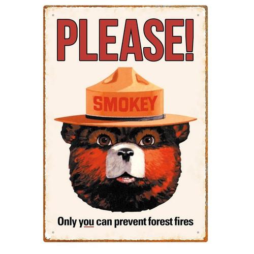 Smokey Bear Tin Sign