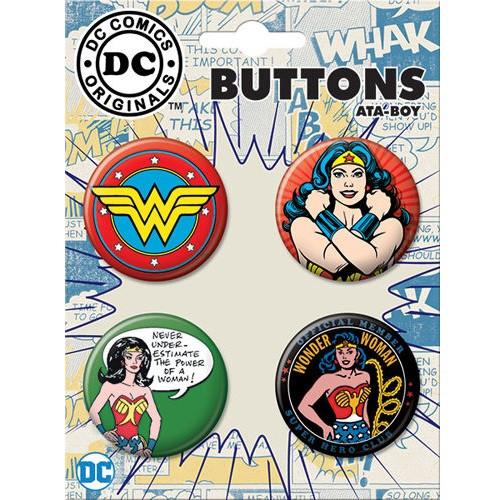 Retro DC Comics Wonder Woman Buttons Set of Four